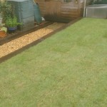 Gravel path with railway sleeper edging